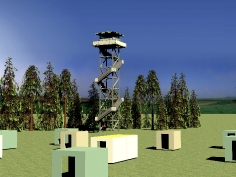 Estonian Defence Forces' central target area's observation towers and the target area